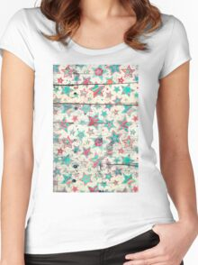 Grunge Stars on Shabby Chic White Painted Wood Women's Fitted Scoop T-Shirt