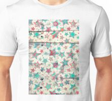 Grunge Stars on Shabby Chic White Painted Wood Unisex T-Shirt