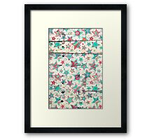 Grunge Stars on Shabby Chic White Painted Wood Framed Print