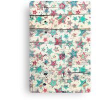 Grunge Stars on Shabby Chic White Painted Wood Canvas Print