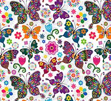 Colorful Retro Butterfly's And Flowers Pattern by artonwear