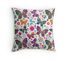 Colorful Retro Butterfly's And Flowers Pattern Throw Pillow