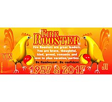 1957 2017 Chinese zodiac born in year of Fire Rooster  Photographic Print