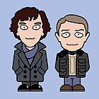 Sherlock and John mini people (card) by redscharlach