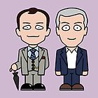 Mycroft and Lestrade mini people (card) by redscharlach