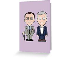 Mycroft and Lestrade mini people (card) Greeting Card