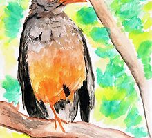 A singing thrush in my garden by Elizabeth Kendall