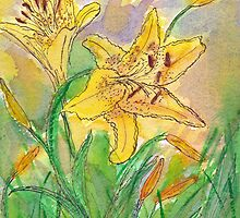 Lilies and Bees II Watercolor by AngelaBishop