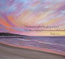 Sunset Pier Painting with Scripture by AngelaBishop