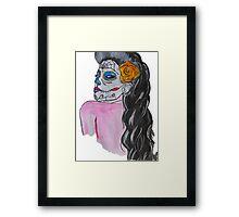 Vintage day of dead girl Framed Print