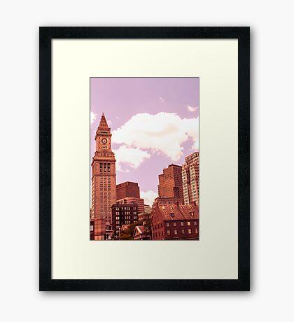 Boston City Skyline, Massachusetts Framed Print
