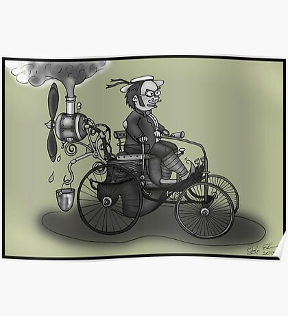 steampunk peugeot style vintage automobile (black and white) Poster