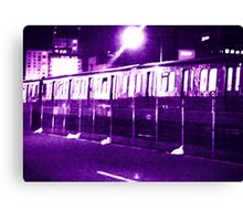 Boston Subway T at Night Canvas Print
