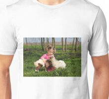 child play with two little goats Unisex T-Shirt