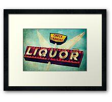 Check Cashing And Liquor Retro Sign Framed Print