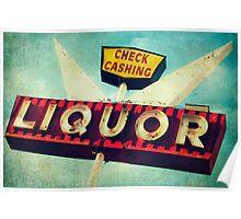 Check Cashing And Liquor Retro Sign Poster