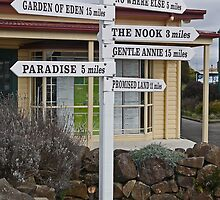 Destination sign, Sheffield, Tasmania, Australia by Margaret  Hyde