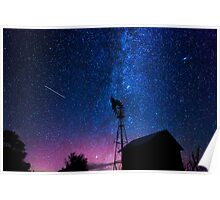 Windmill and the Milky Way  Poster