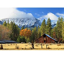 Autumn Barn At Thompson Peak Photographic Print