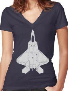 Lockheed Martin F-22 Raptor Women's Fitted V-Neck T-Shirt