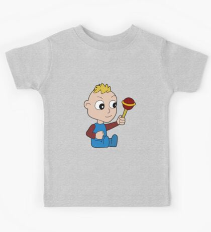 Cartoon baby playing with toy Kids Tee