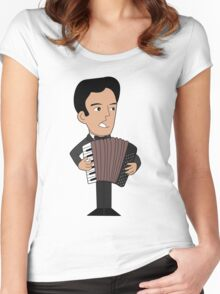 Cartoon accordion player Women's Fitted Scoop T-Shirt