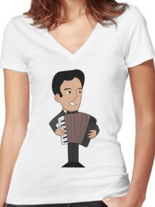 Cartoon accordion player Women's Fitted V-Neck T-Shirt