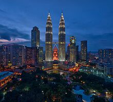 The Twin Towers at Sunset by Nur Ismail Mohammed