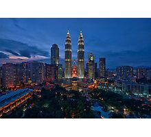 The Twin Towers at Sunset Photographic Print