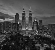 The Twin Towers at Sunset (B&W) by Nur Ismail Mohammed