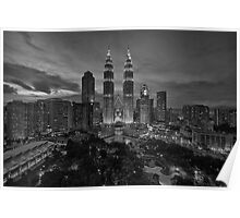 The Twin Towers at Sunset (B&W) Poster