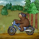 Bear on a Motorcycle by Rencha
