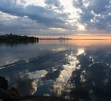 Clouds, and Clouds and Toronto Skyline at Sunrise by Georgia Mizuleva