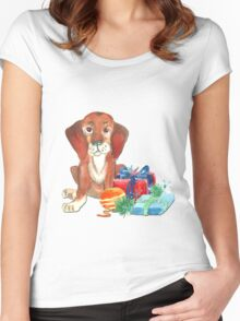 Water color Christmas illustration. Women's Fitted Scoop T-Shirt