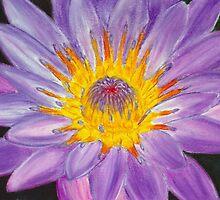 Purple Water Lily Pastel by AngelaBishop