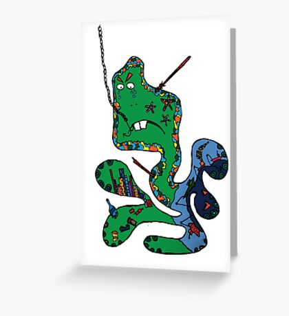 Green squid Greeting Card
