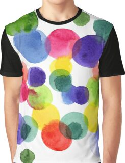 Abstract watercolor multi-colored polka dots.  Graphic T-Shirt