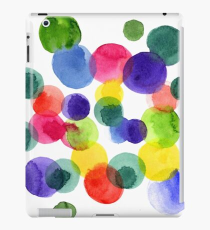 Abstract watercolor multi-colored polka dots.  iPad Case/Skin