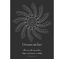Dreamcatcher Mandala - Poster - white on grey w/Msg Photographic Print