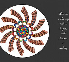 Dreamcatcher Mandala - Card - Full-Color w/grey matte and Msg by TheMandalaLady