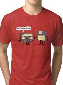 The Obsoletes (Retro Floppy Disk Cassette Tape)  Tri-blend T-Shirt