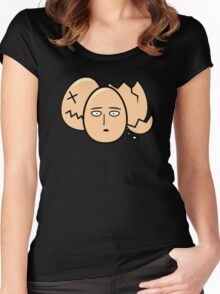 One Punch Egg, Saitama Once Punch Man Parody Women's Fitted Scoop T-Shirt