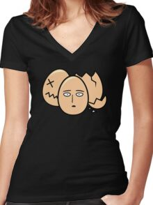 One Punch Egg, Saitama Once Punch Man Parody Women's Fitted V-Neck T-Shirt