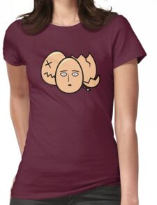 One Punch Egg, Saitama Once Punch Man Parody Womens Fitted T-Shirt