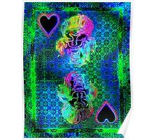 Double Neon Queen of Hearts Poster