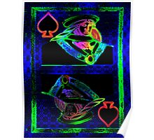 Double Neon Queen of Spades Poster