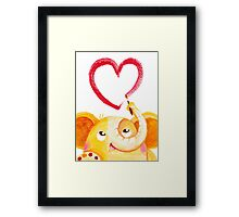 Painter - Rondy the Elephant painting a heart Framed Print