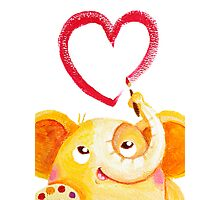 Painter - Rondy the Elephant painting a heart Photographic Print