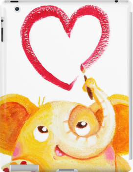 Painter - Rondy the Elephant painting a heart by oksancia