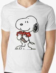 Snoopy Flowers Mens V-Neck T-Shirt